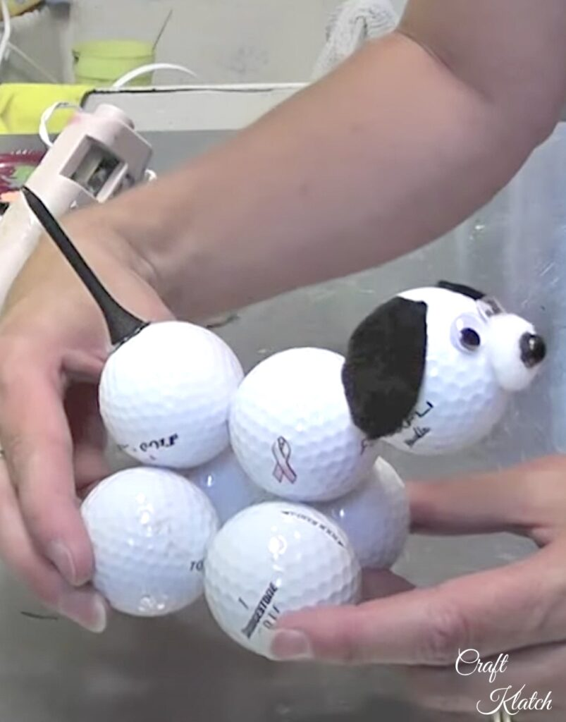 Finished golf ball dog diy