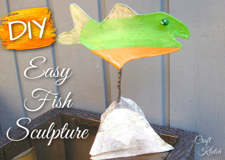 Green and orange Fish Sculpture crafts DIY