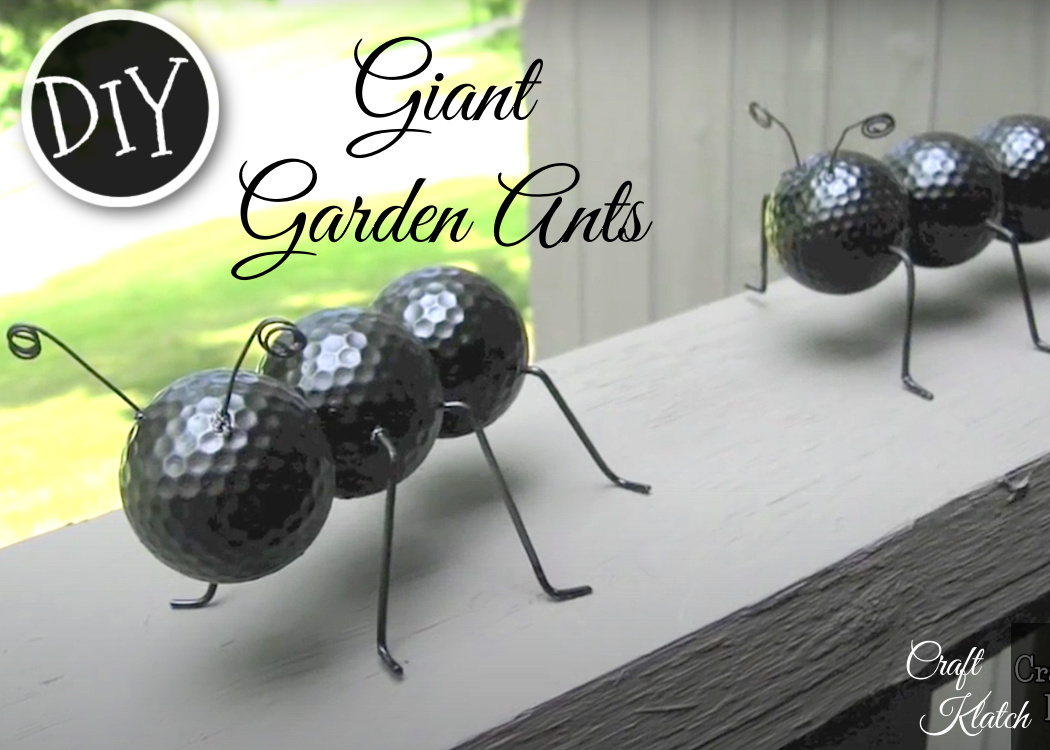 Giant garden ants made from recycled materials