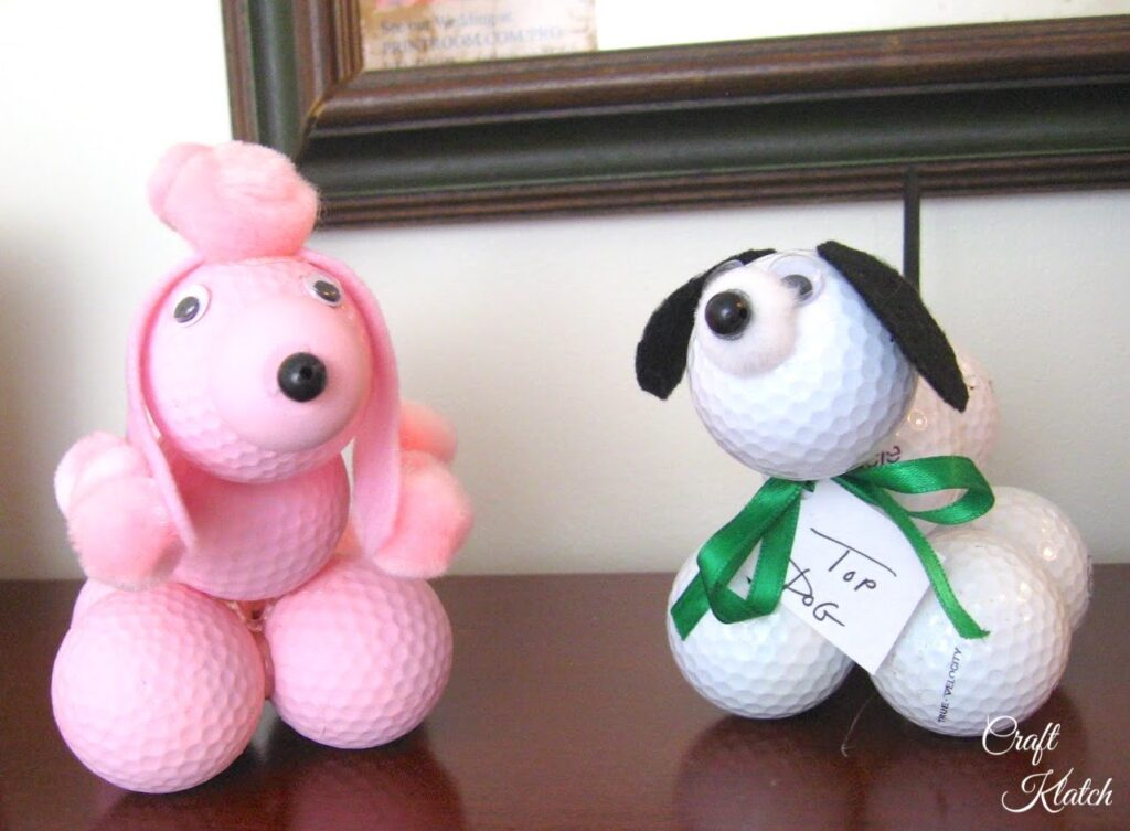 Pink golf ball poodle and white golf ball dog craft
