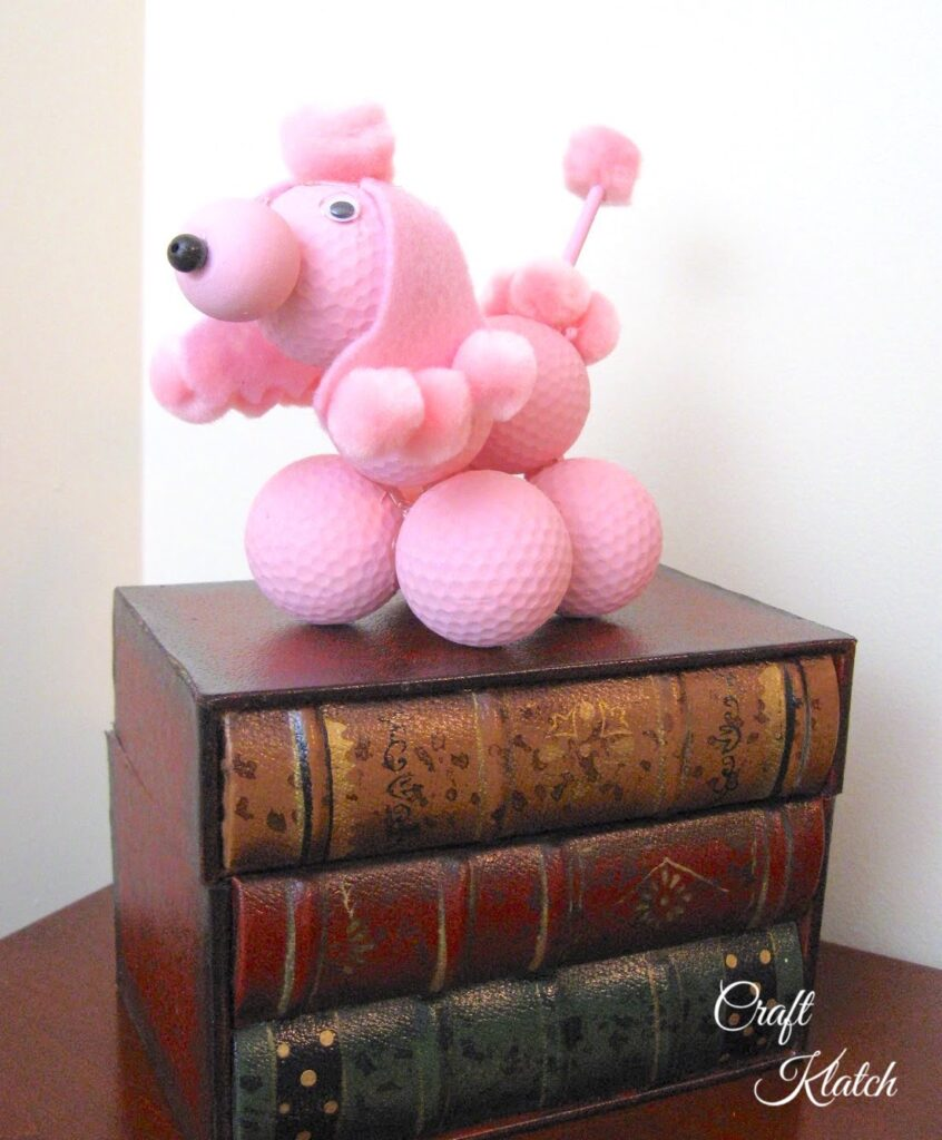 Pink golf ball poodle craft