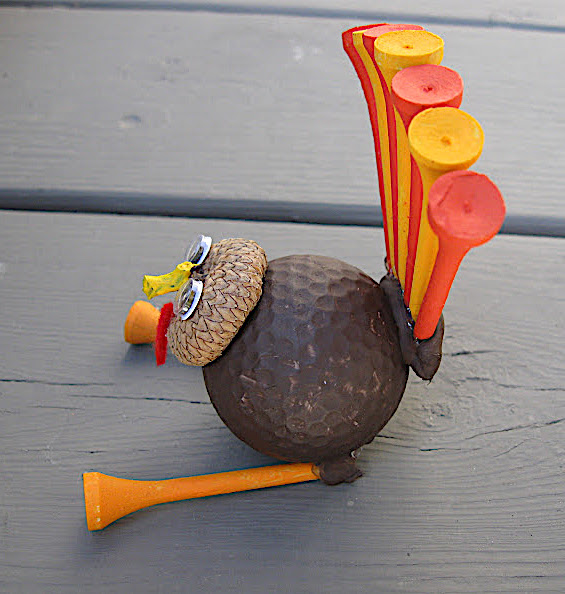 Golf ball turkey craft side view