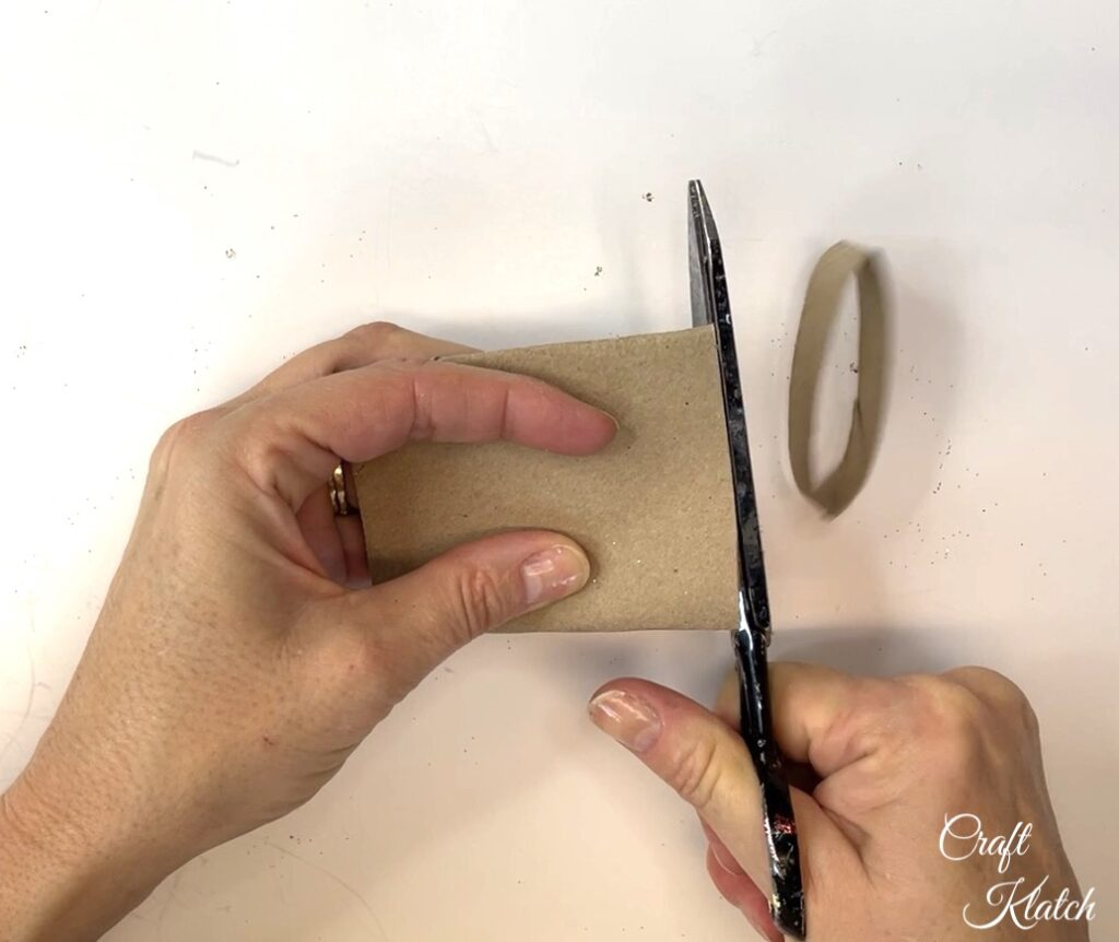 Cutting strips from toilet paper roll