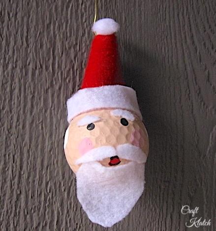 Fun Santa Golf ball ornament craft
