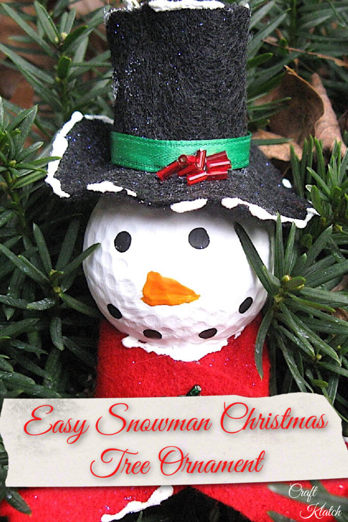 Golf ball snowman Pinterest image