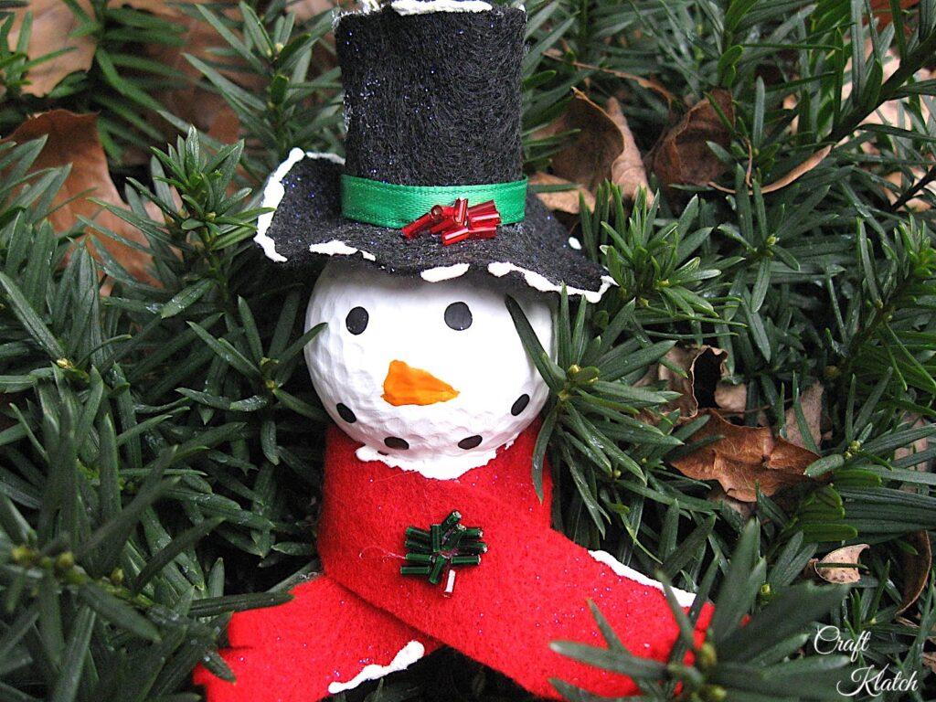 golf ball snowman Christmas tree ornament craft