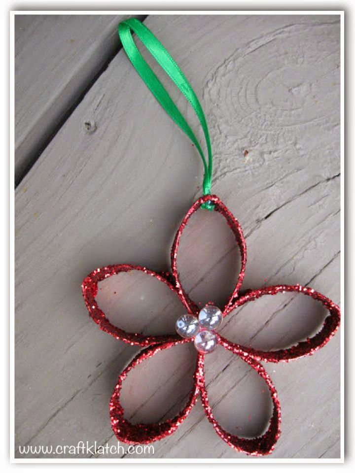 Red glitter toilet paper flower Christmas ornament craft