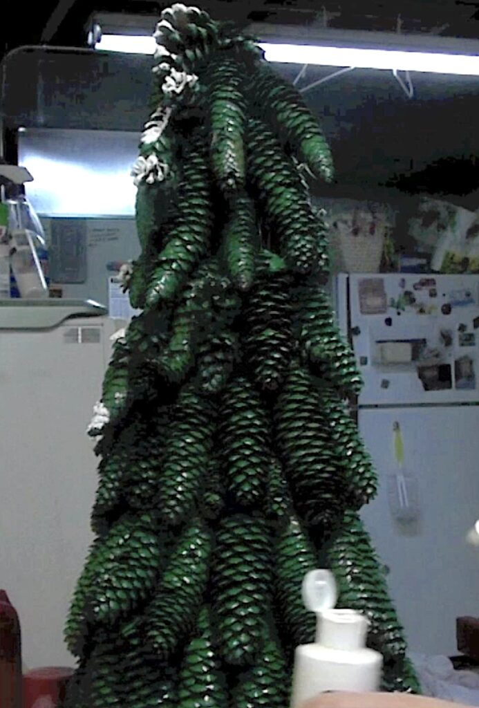 Paint the pine cone tree green