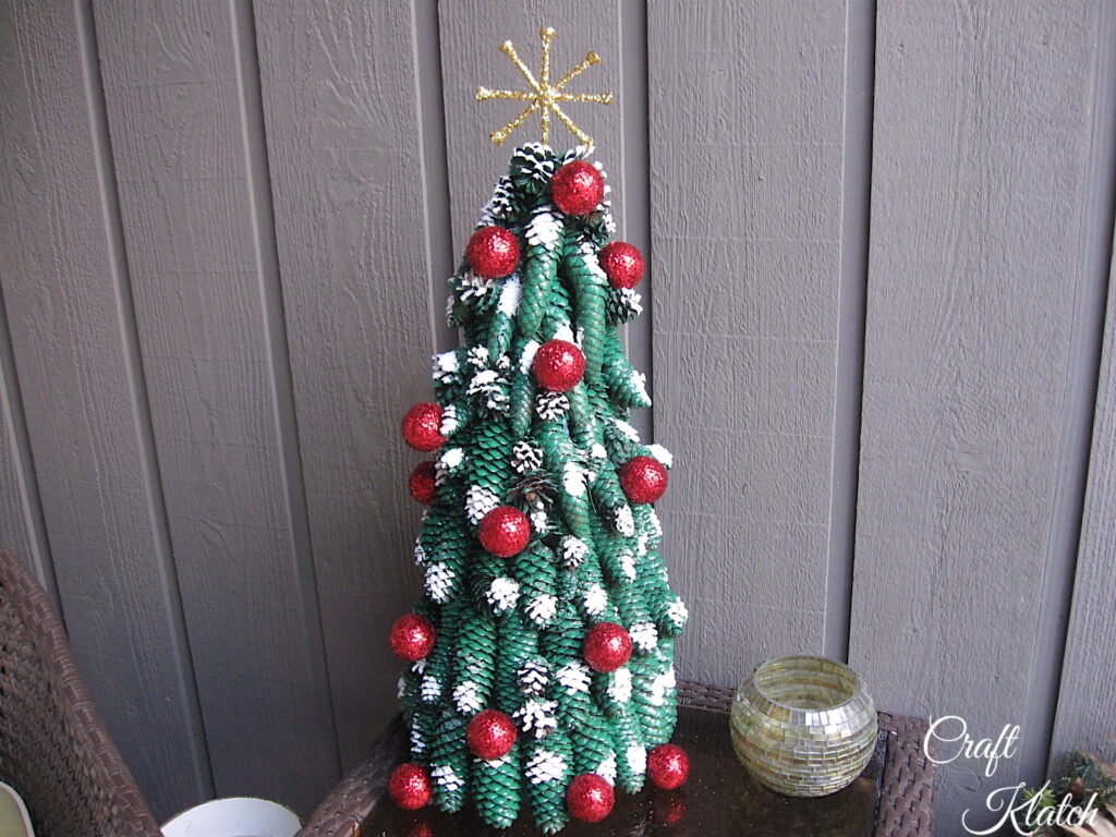 How to make a Christmas Tree out of pine cones finished project   Golf ball Christmas tree