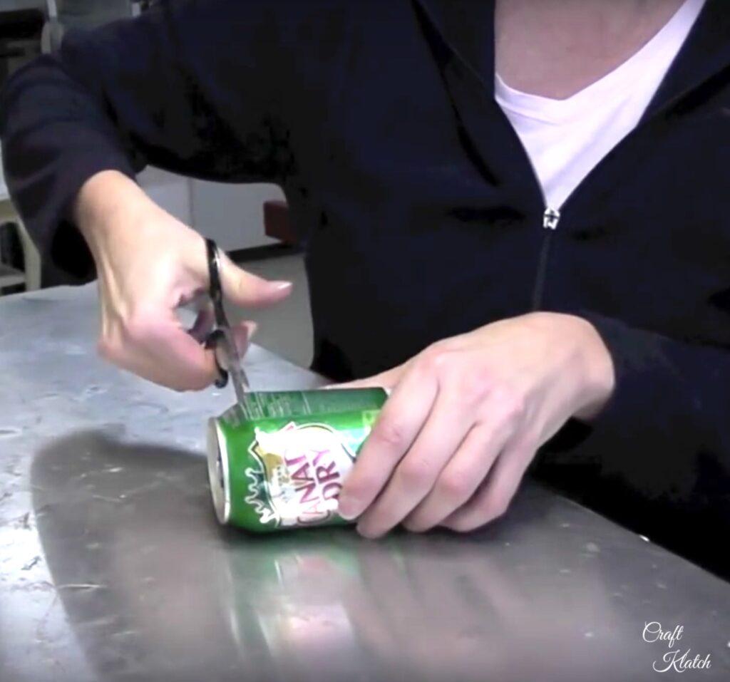 Cutting aluminum soda can