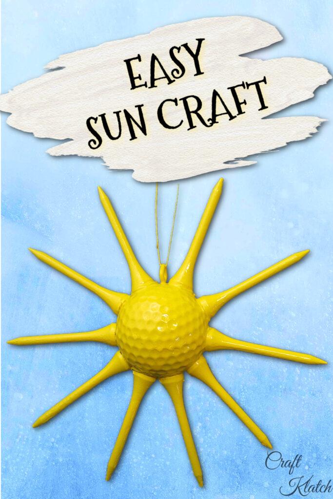 DIY Golf ball sun craft pin