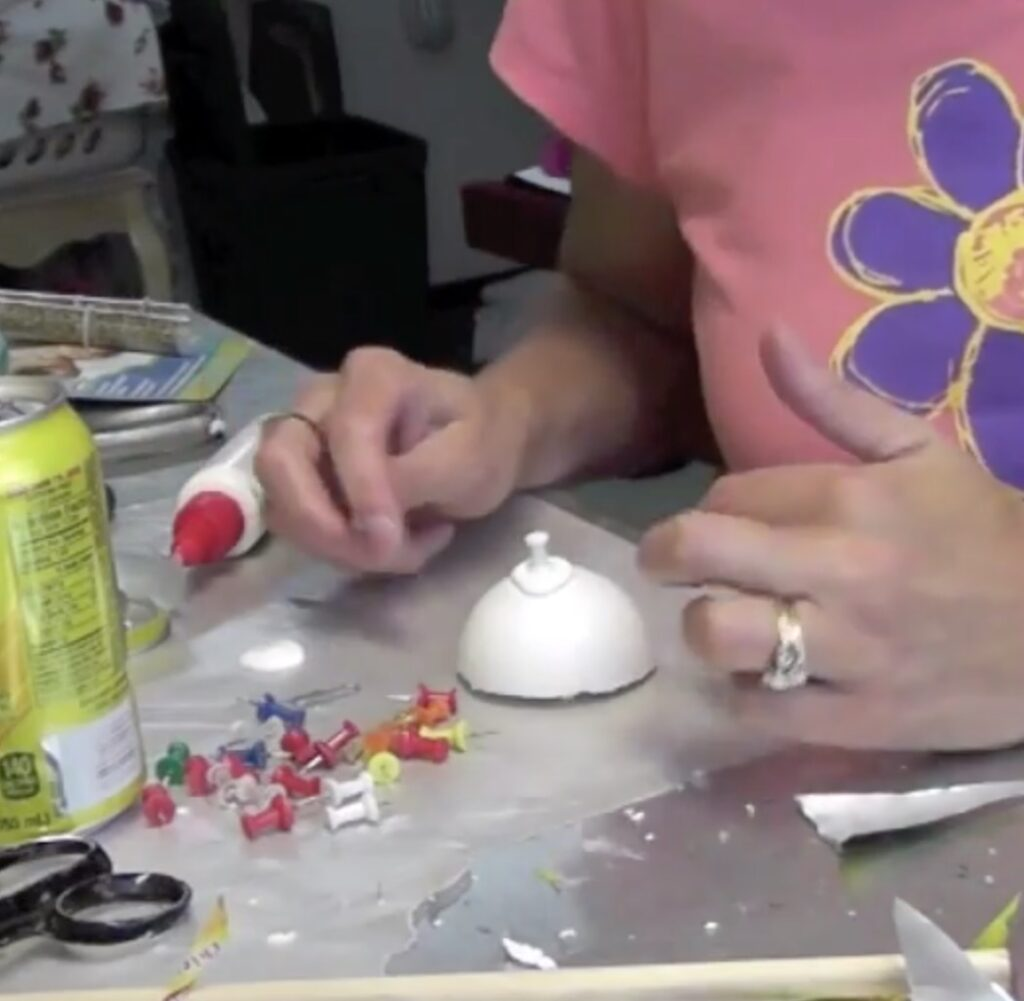 tick the gluey pushpins into the half styrofoam ball