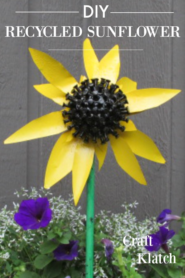 Sunflower made out of recycled materials