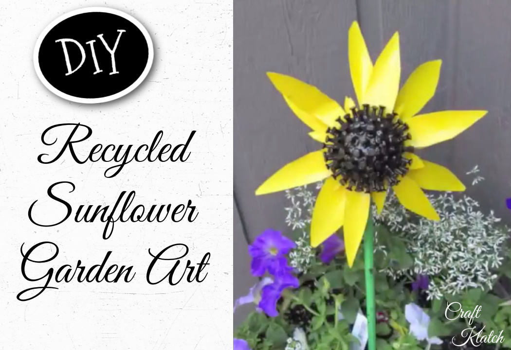 Sunflower recycled garden art