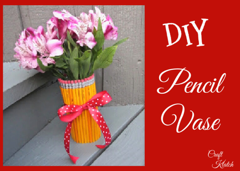 Pencil vase with pink flowers