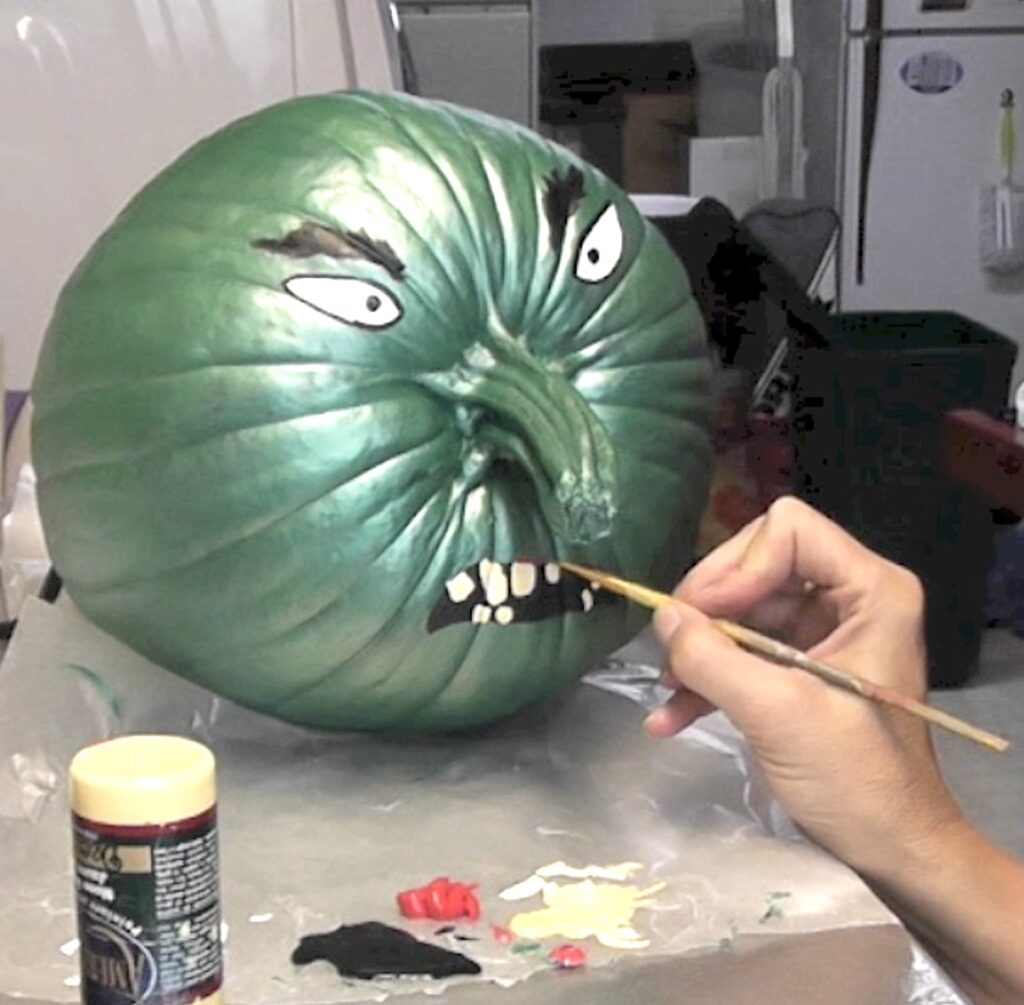 Paint on face for the painted pumpkin witch
