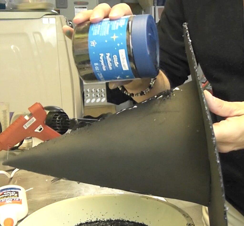 Add glue to witch hat brim