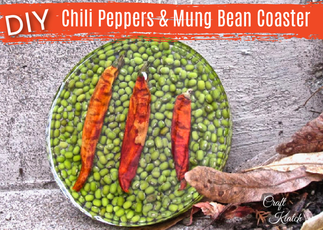 DIY Chili Peppers and Mung bean resin coaster