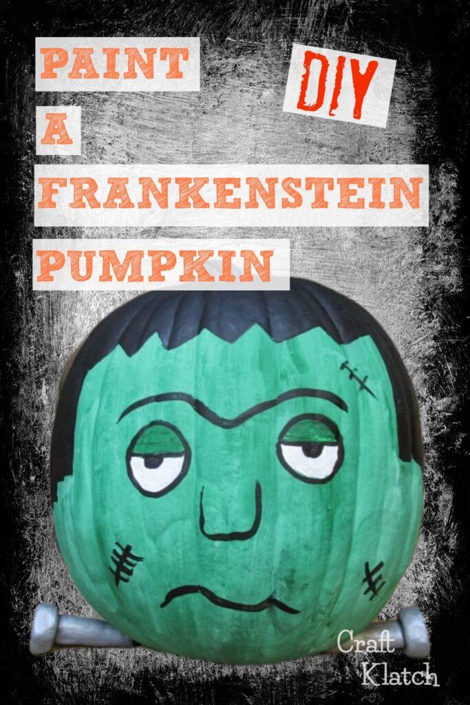 Frankenstein painted pumpkin decorating no carve