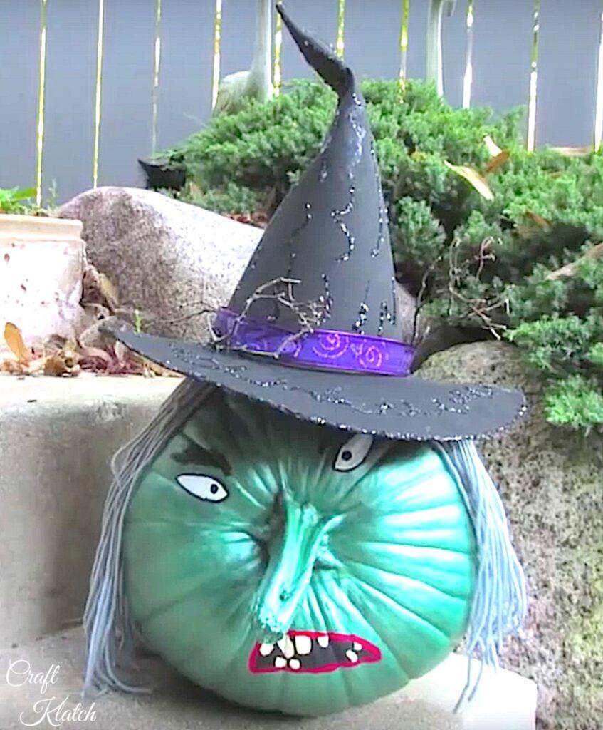 Fun painted pumpkin idea   painted pumpkin witch