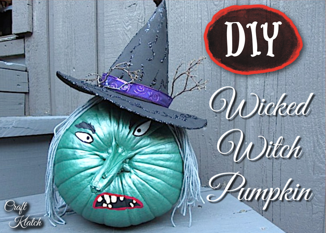 Wicked witch in Wizard of Oz inspired painted pumpkin