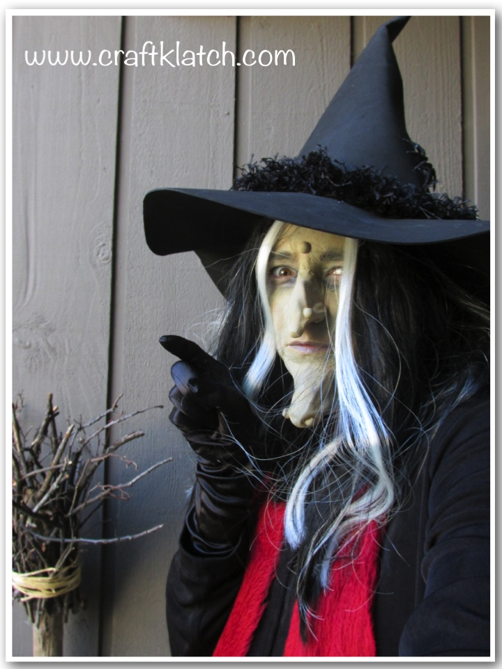 Old wicked witch with witch hat and red scarf