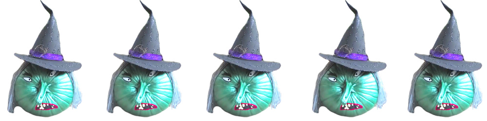 Painted pumpkin witch