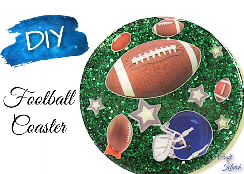 Resin Football Coaster DIY with football helmet footballs and green glitter background