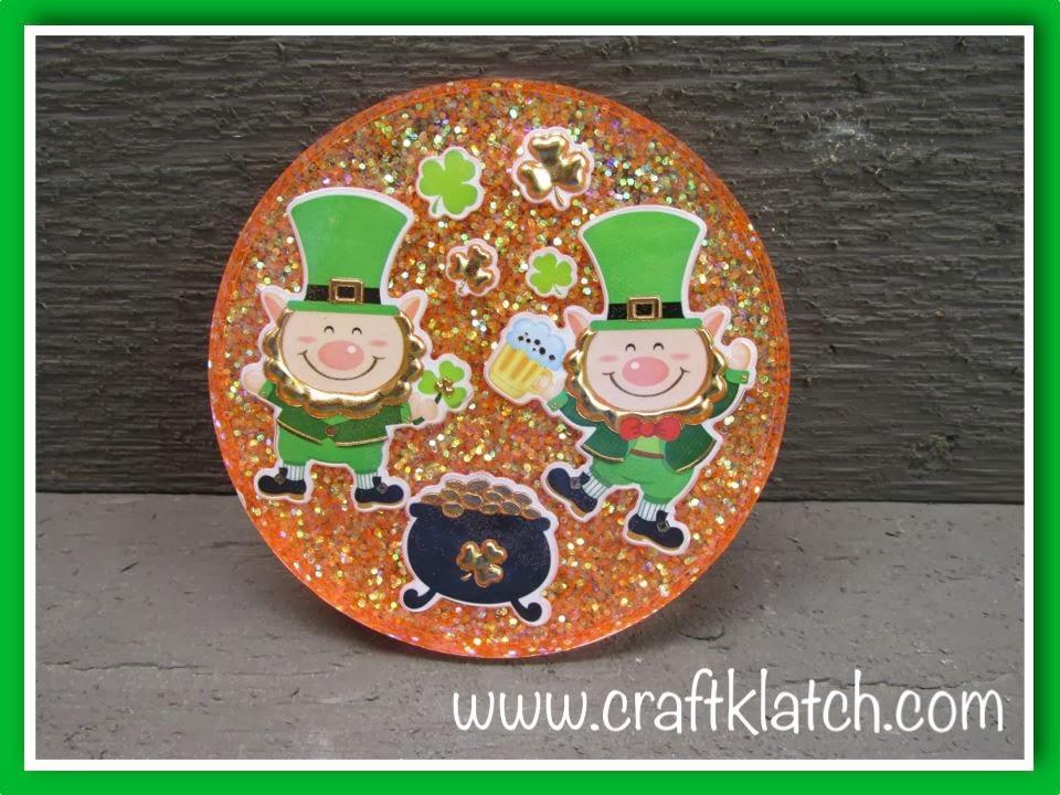 Orange and green leprechaun coaster for St. Patrick's Day