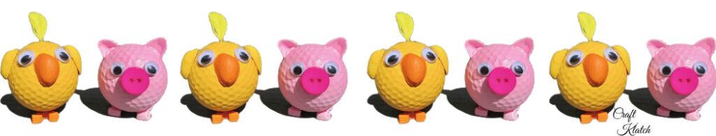 Cute farmyard animas | Golf ball pigs and chicks