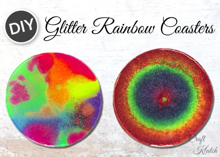 Glitter Rainbow coasters DIY resin craft