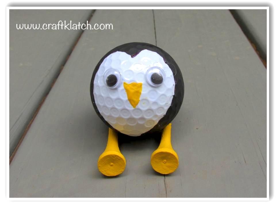 Golf ball babies | penguin made out of a golf ball