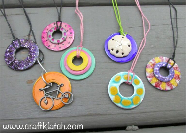 Colorful Washer necklaces, plain with a sand dollar and a bike