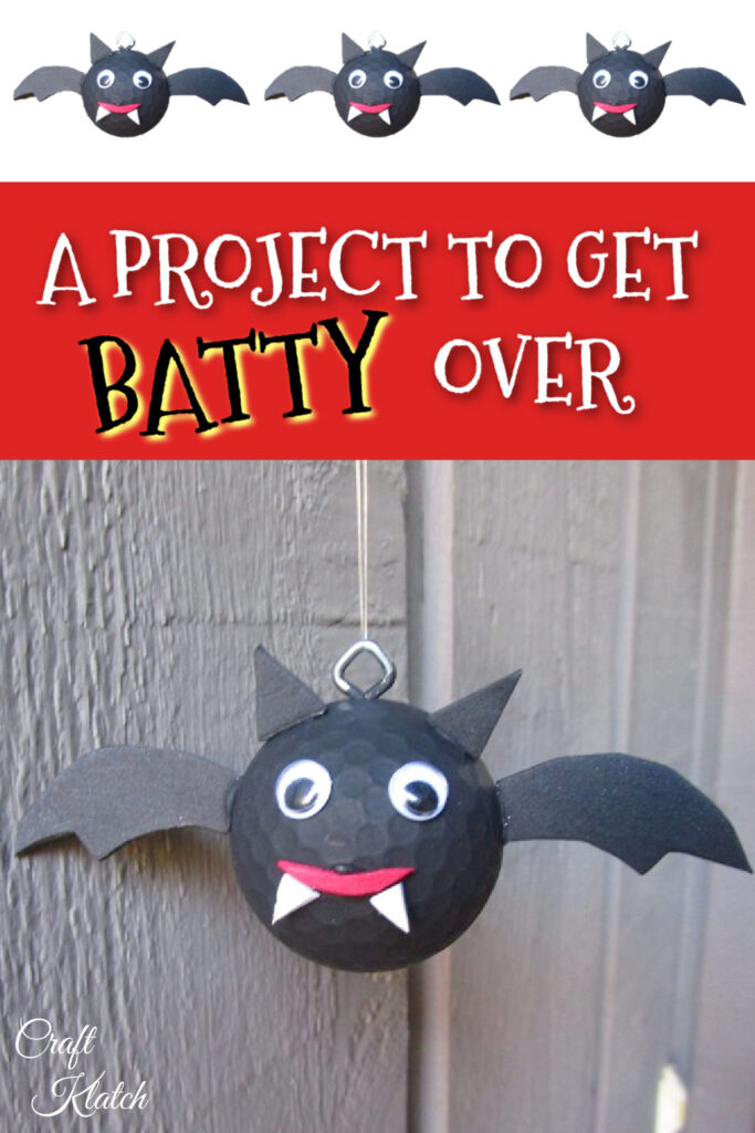 bat for halloween golf ball craft