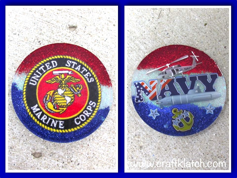 Military coasters Navy and Marines red white and blue