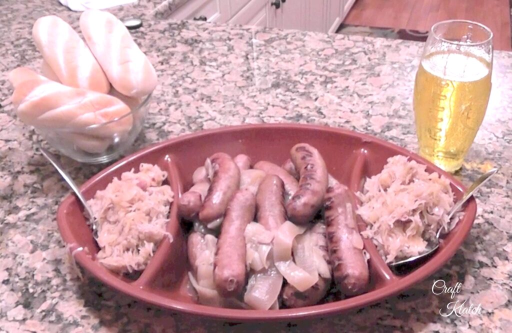 Beer brats and sauerkraut