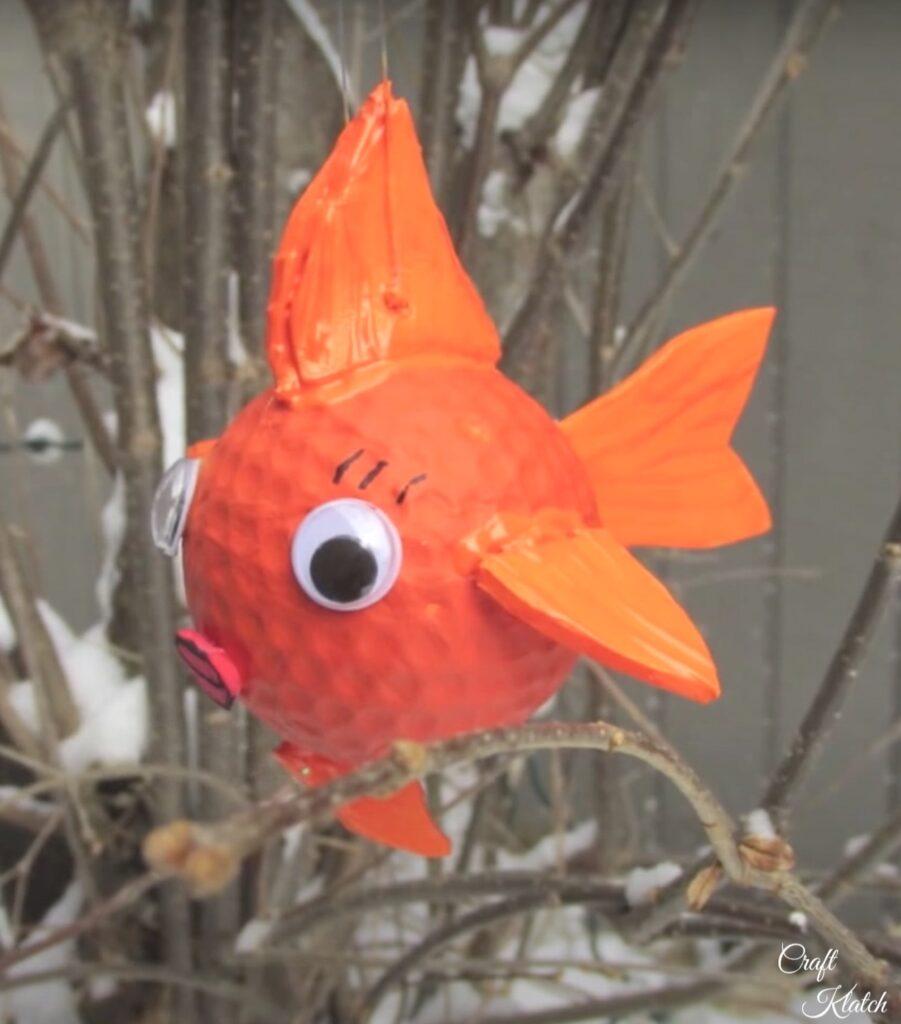 Golf ball goldfish craft