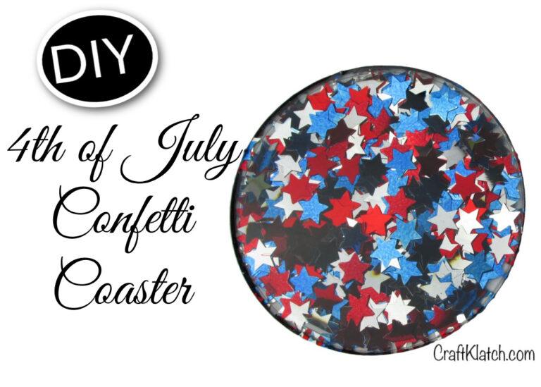 Fourth of July Confetti Coaster DIY