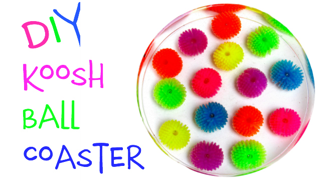 Koosh ball resin diy splash of color coaster