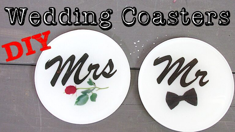 Bride and Groom wedding coasters black and white with a rose and a bow tie
