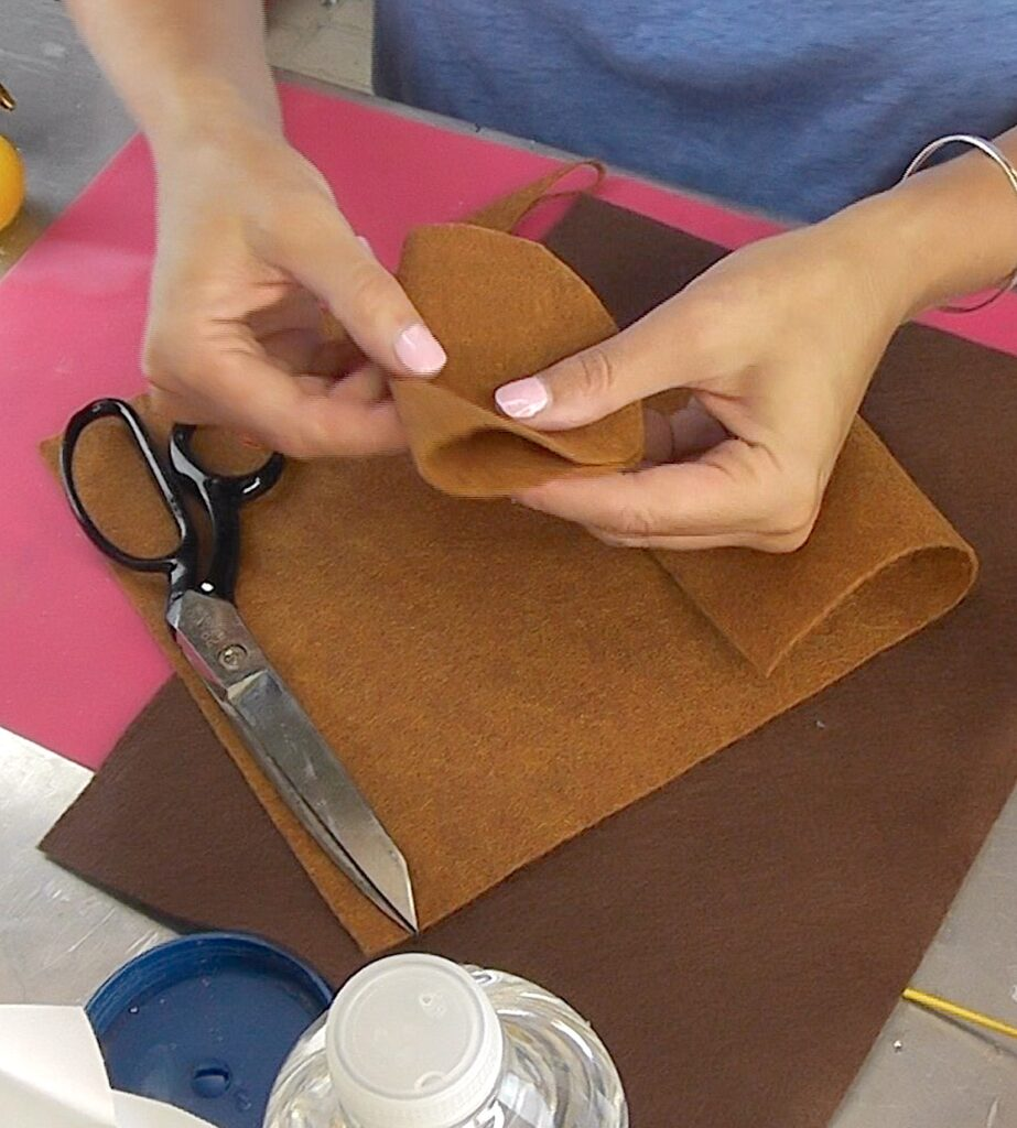 cut a circle out of brown felt