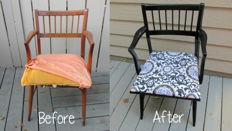Before and after of chair makeover
