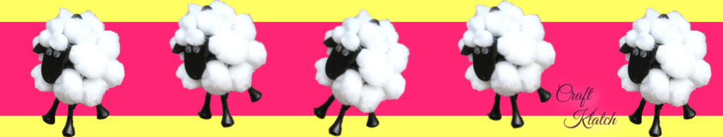 five sheep with pink and yellow background