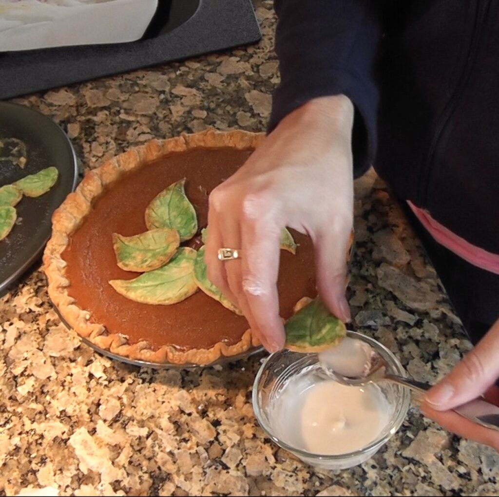 Dipping dough leaf in sugar water mixture