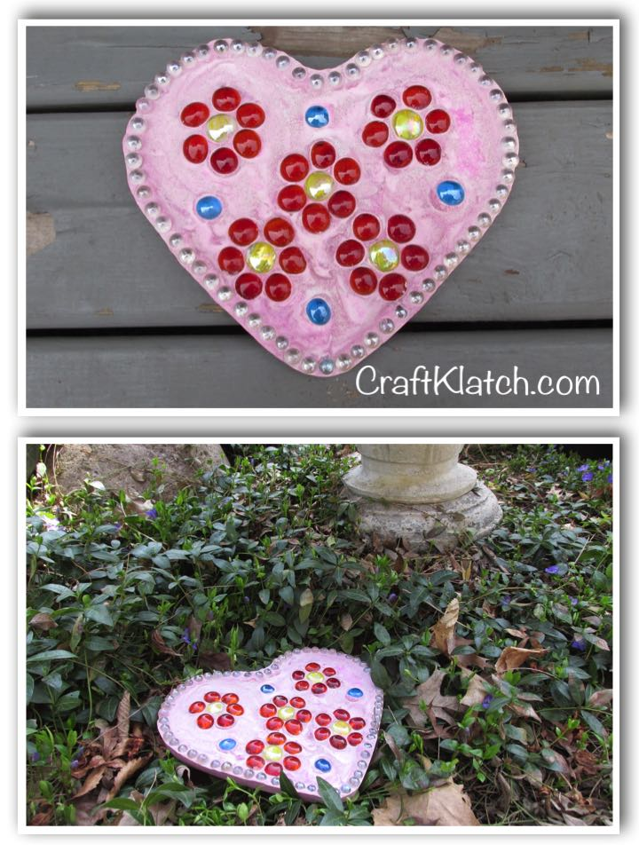 Heart stepping stone with gems