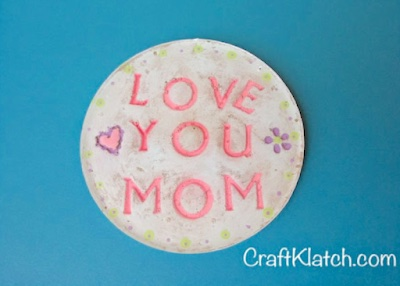 Mother's Day resin and concrete coaster