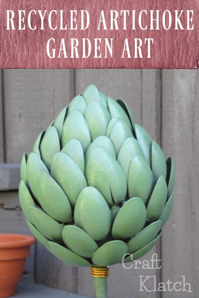 Recycled artichoke garden art