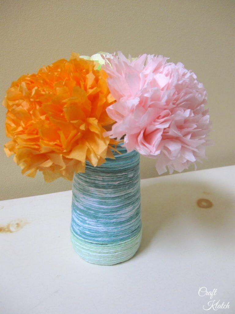 Tissue paper flower bouquet and string vase