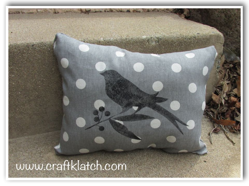 No sew gray and white polka dot pillow with stenciled bird