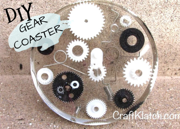 Gears and spring coasters DIY for Father's Day gift idea